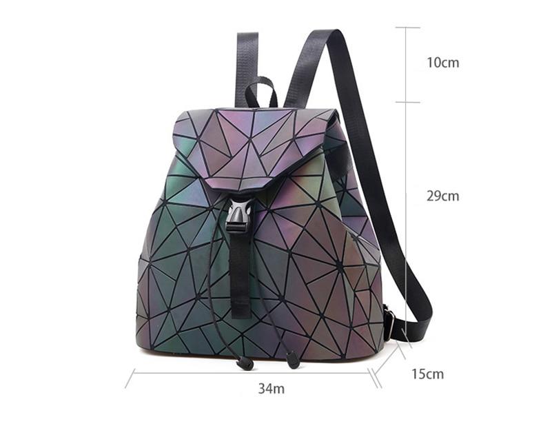 Nevenka Luminous Backpack Women Leather Geometric Backpacks Diamond Lattice Backpack Travel Girls Casual Daypacks Fashion 201802
