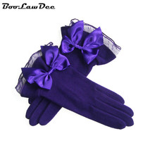 BooLawDee autumn winter faux cashmere women gloves with lace bowknot romantic solid mittens 8*24cm purple pink black A52102