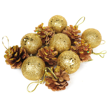 12 Pcs/Set Christmas Ball and Pine Cones Baubles Xmas Tree Home Decorations Ornament