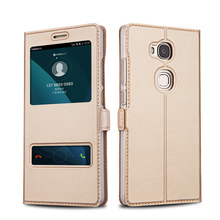 Huawei Honor 5X Case Leather Flip Cover Luxury Protector Capa Coque Honor5x Double Window Couro Fundas Mobile Phone Bag Cases