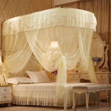 Mosquito Net U Type Three Doors Sweet Princess Stainless Steel Floor Bracket Bed Elegant Round Lace Canopy Netting Curtain(China)