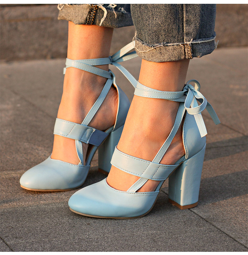 Women Pumps Comfortable Thick Heels Women Shoes Brand High Heels Ankle Strap Women Gladiator Heeled Sandals 8.5CM Wedding Shoes 13