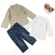 2017 Gentleman Style Baby Boys Blazer T Shirt Jeans Clothing Sets Little Boys Casual Suits Wedding Party Kids Wear 3 Pcs/set