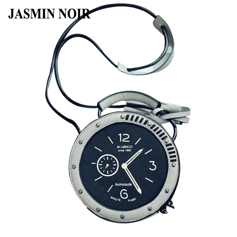 2017 summer new women crossbody bag female leather Round Clock shape shoulder bag rivet watches tassels messenger bag for ladies<br><br>Aliexpress