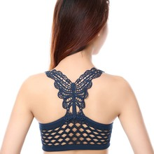 Women Sexy Lace Hollow Out Butterfly Push Up Vest Backless Fashion Bra Vest(China)