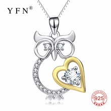 PYX0123 100% Real Pure 925 Sterling Silver Lovely Owl Necklace Love Heart Cubic Zirconia Crystal Pendants Necklaces For Women(China)