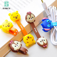 2 Pieces Cute Cartoon Kawaii Mobile Phone USB Cable Fastener Button Organizer Wire headset Holder line Winder bag clip decro(China)