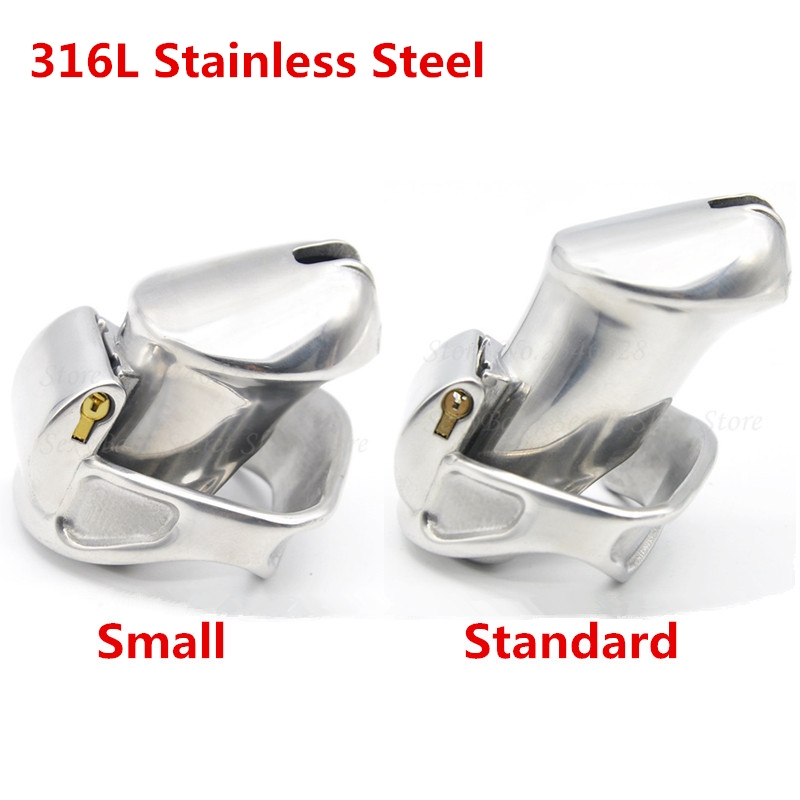 316L Stainless Steel Male Chastity Device 2 Magic Locks,Cock Cage,Penis Rings,Virginity Belt,Sex Toys Men Drop Shipping