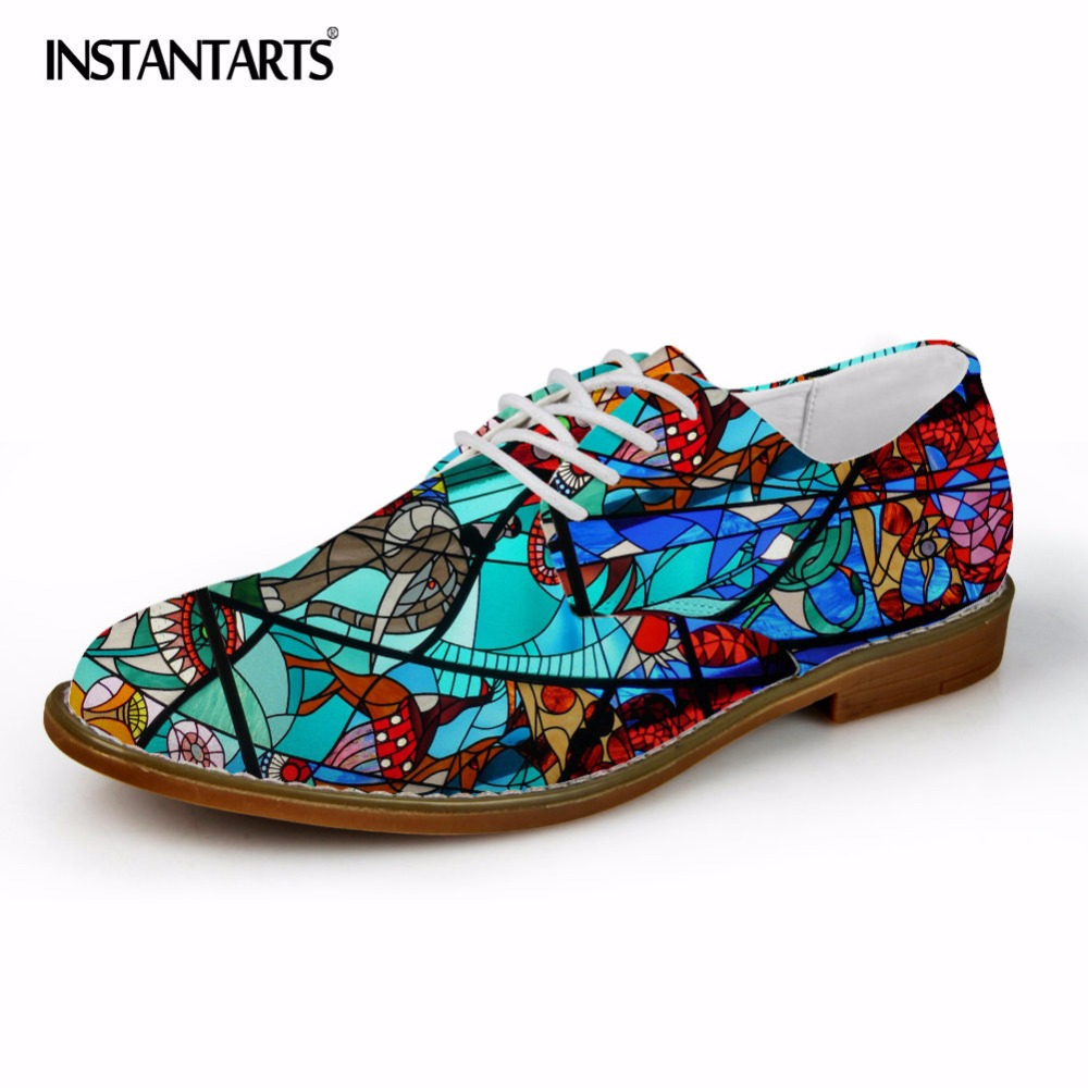 INSTANTARTS Fashion Men Leather Dress Shoes 3D Colorful Printed Men Casual Oxfords Shoes for Male Flats Spring Summer Shoe Man<br>