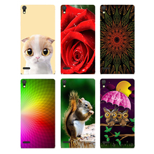 Case For Huawei Ascend P6 P6s Back Cover Flower Original Hard Plastic Printed Cat Owl Animal Phone Case For Huawei Ascend P6(China)