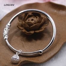 female smooth lotus bell European Style 100% 925 Sterling Silver Bangle For Women Ball Design Antique Valentines Bracelet Gift