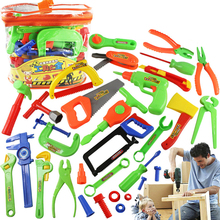 32Pcs/Set Kids Repair Tools Toy Kit Baby Classic Chainsaw Hammer Toolbox Boys Pretend Play Plastic Tool Toys Set Children Gifts(China)