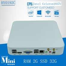 Mini PC Celeron 1037U Fanless Industrial PC 2G RAM 32G SSD Storage Windows XP/7/8 and Linux OS supported(China)