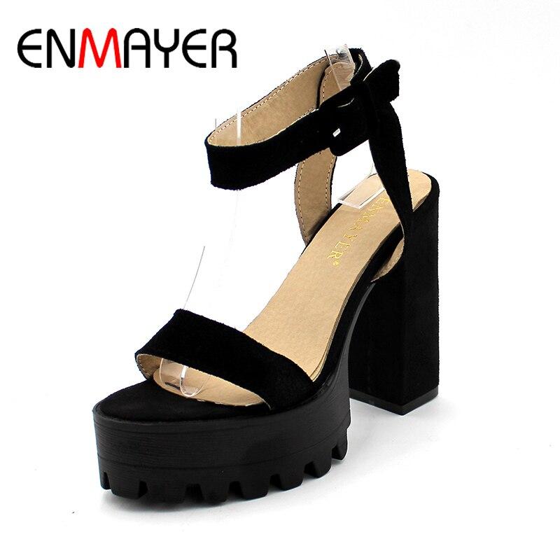 ENMAYER Woman Ankle Strap Square Heel Platform Sandals High Heels Casual Flock Shoes Ladies Mature Party Shoes Plus Szie 34-43<br>