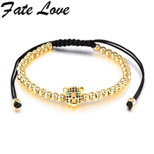 Fate Love Wholesale Top Quality Bracelet Leopard Head Braided Macrame Charm Bracelets Men Women 4 Color Beads Jewelry Gift FL513(China)