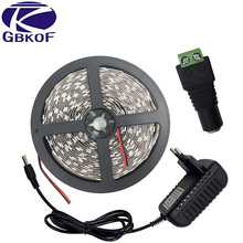 Hot sale 5M 300Leds non waterproof White/Warm White color Led Strip 5050 DC12V Flexible Light Led Ribbon Tape DC 12V 3A adapter