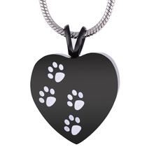 Cute Pet Paw Shape Ashes Keepsake Stianless steel Cremation Urn Necklace Memorial Jewelry Urn Pendant Funeral Keepsake(China)