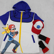 Full Set  Pokemon Ash Ketchum Costume Cosplay Jacket + Gloves + Hat+Doll