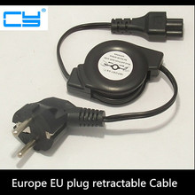 5pcies/lot Europe EU plug Flat Power Supply Retractable Stretch Cable Cord to IEC320 C5 for Laptop Notebook 100cm 1m