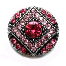 2017 New Pink Rhinestone Style Round Shape Metal 18mm Snap Button Charms For Snap Bracelet Snaps Jewelry KZ0577f