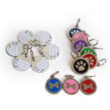 Pets Identity Card Lovely Cat Paw Dog Bone Style Pet Name Dog Necklace Tag For Pets Fashion Key Chain(China)
