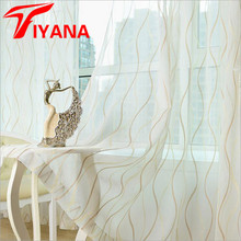 Simple Sheer Curtains Luxury Striped Design Window Tulle Curtains For Living Room Bedroom White Embroidered Valances  wp377#30