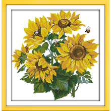 Cross Stitch Sunflower(4) Patterns Counted Embroidery Cross Kits Needlework Embroidery Thread Painting Art Home Decor WR306