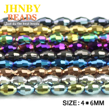 Buy JHNBY Rice grains Austrian crystal beads 100pcs 4*6mm oval shape Top plated color Loose bead Jewelry bracelet making DIY for $2.00 in AliExpress store
