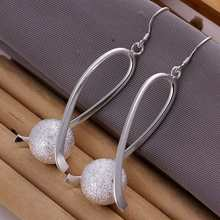 Free Shipping Fashion jewellery charms silver-plated earrings Fashion Ball drop earings pendientes wholesale