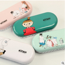 Kawaii Moomin Cartoon Tin Glasses Case Desktop Storage Box School Office Supply Gift Stationery