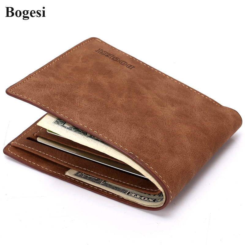 Bogesi Brand PU Leather Cool Wallets Men Vintage Designer Short Casual Purses Male Credit Card Holders Top Quality Money Bags(China)