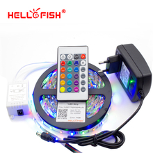 Hello Fish 5M /28353528 300 SMD Flexible LED Strip Light + 24 keys IR Remote Controller +12V 2A Power Adapter Free Shipping(China)