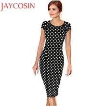 Summer Work Bodycon Short Sleeve Dot Printed Knee Length Dress Women Sexy Office Lady Party Cocktail Pencil Dress Vestido Feb21(China)