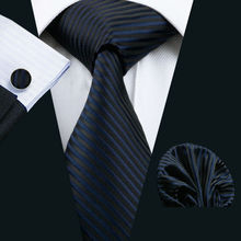 LS-877 Mens Tie Dark Striped 100% Silk Classic Jacquard Woven Barry.Wang Tie Hanky Cufflink Set For Men Formal Wedding Party