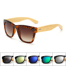 Ablibi Men's Square Coating Top Brand Designer Bamboo Polarized Sunglasses for women in Wood Box Customized Logo Available(China)