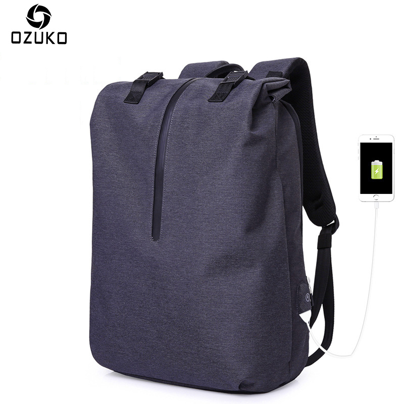 OZUKO Men Casual Backpacks USB Charging 15.6inch Laptop Backpack For Teenager Fashion Student Schoolbag Waterproof Male Mochila<br>