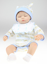 2015 New 45cm solid silicone reborn babies for sale soft lifelike baby alive boy bonecas toys for children(China)