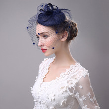 Classic Ladies Wedding Fascinator And Hats Veil Dotted Hair Clip Grey Black Navy Linen Dinner Party Church Women Hair Headpiece