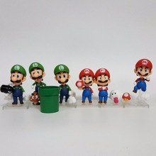 Super Mario Bros Nendoroid Luigi Mario Action Figures PVC 10mm Anime Game Toys Super Mario Collectible Nendoroid 3pcs/set(China)