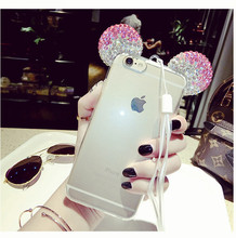 For iPhone 7 7 Plus 8 8Plus 3D Mickey Minnie Mouse Bling Diamond Crystal Ears Soft Silicone TPU Cover Phone Case Coque Funda