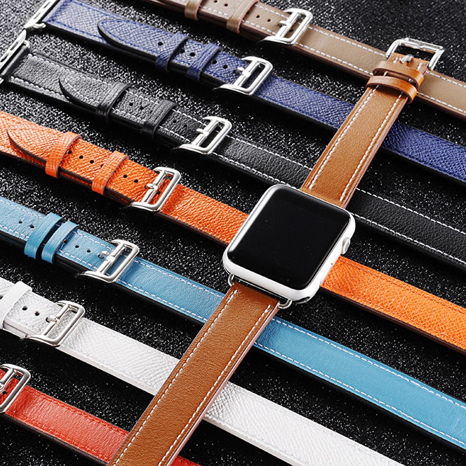 Genuine Leather double tour watch band straps for apple watch series 1 2 3 iwatch herme watchbands<br>