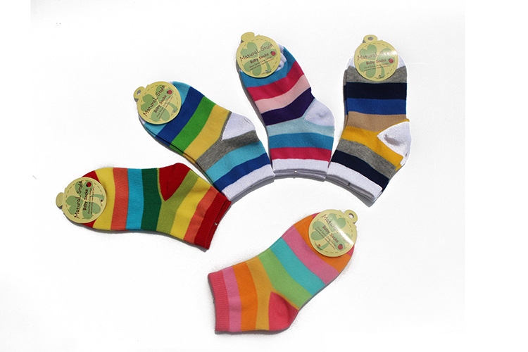5 Pairs / Lot Fashion Toddler Baby Socks Boy And Girl Rainbow Striped Cotton Socks Kids In tube Socks Children Sock 1-6 Years 4
