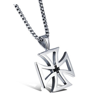 Jiayiqi 2017 New Men Stainless Steel Cross Pendant  Collar Necklace Hot Punk Jewelry Accessories Silver Statement Necklace