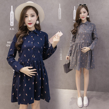 Flocking Long Sleeve Shirt Dresses A-line Turn-down Collar Button Dress Pregnant Clothes For Spring Long Maternity Gowns Tops