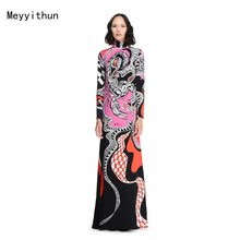 New Arrival Stunning Printed Long Sleeve Stretch Jersey Maxi Dress Long Dress 151229ep609c