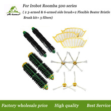 Replacements Hepa Filters +Side Brushes Accessory Kits for iRobot Roomba 500 Series 527 528 530 532 535 540 555 560 562 Vacuums(China)