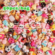 50pcs/lot DIY Mix Styles Flatback Resin Cabochons Simulation Food Dessert Ice Cream Cake Jewelry Phone Deco Nail 6~12mm(China)