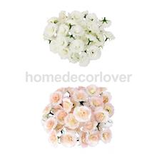 100Pcs Artificial Silk Rose Peony Flower Heads Bulk Craft Home Wedding DIY Decor Pink/White(China)