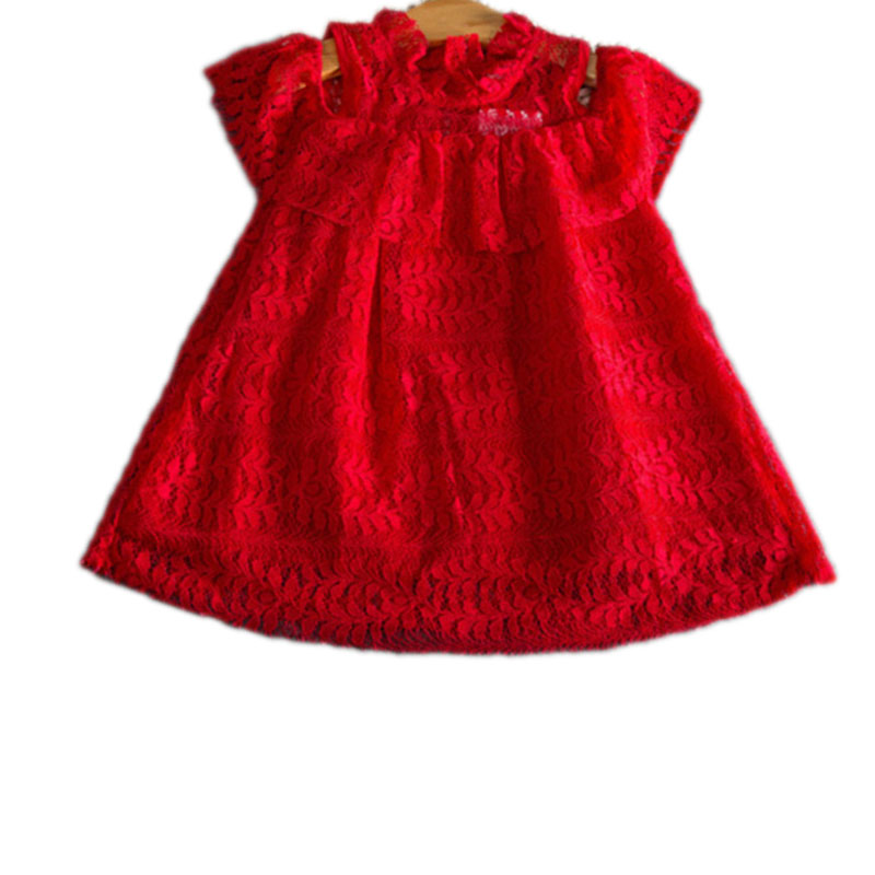 High Quality Girls Dress Summer 2017 Lovely Baby Off Shoulder Red Full Lace Kids Party Dresses For Girls Toddler Princess Dress<br><br>Aliexpress