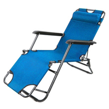 2 x Folding Reclining Garden Chair Outdoor Sun Lounger Deck Camping Beach Lounge - Blue